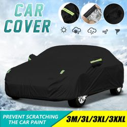 Universal For Sedan Car Covers Size 3-S/3-M/3-L/3-XL/3-XXL Indoor Outdoor Full Auot Cover Sun UV Snow Dust Resistant Protection Cover(black,XXL(530x200x150cm))