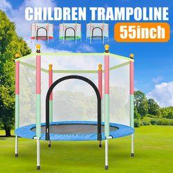 140CM Trampoline Round Trampolines Kids Enclosure Safety Net Pad Outdoor