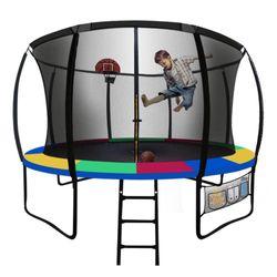 UP-SHOT 12ft Round Kids Trampoline Curved Pole Basketball Set Black Multi-colour