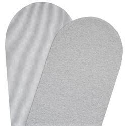 Living Textiles 2-pack Moses/Pram Fitted Sheet Grey Stripe/Melange