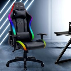 Artiss Gaming Chair Neon Office Chair LED Recliner