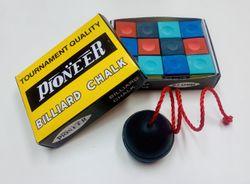 Pool Snooker Billiard Cue Tip Table RAINBOW Chalk + Black Chalk Holder