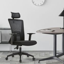 Ergonomic Office Chair Black Mesh High Back Headrest Adjustable Armrest