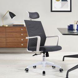 White Ergonomic Office Chair Black Mesh High Back Headrest