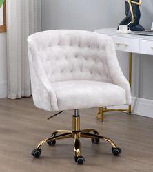 Velvet Upholstered Tufted Office Chair Gold Base-Beige