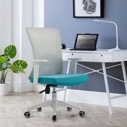 White Ergonomic Office Chair Black Mesh Back Rest with Lumbar Support