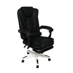 Gaming Chair Office Computer Seat Racing PU Leather Executive Black with footrest