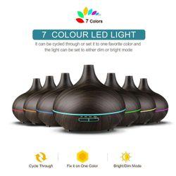 160-550ML Aroma Aromatherapy Diffuser LED Oil Ultrasonic Air Humidifier Purifier( 3 - 550ML Light Woodgrain)