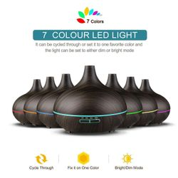 160-550ML Aroma Aromatherapy Diffuser LED Oil Ultrasonic Air Humidifier Purifier( 6 -500ML Light Woodgrain)