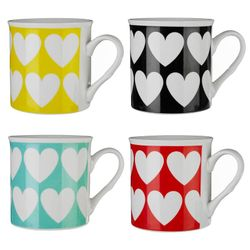 Premier Housewares Set of 4 Heart Mugs
