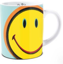 Smiley Mug Yellow Pop Art style Smiley on Blue Green Background