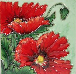 YH Arts Ceramic Wall Art, Red Poppy, Design 1