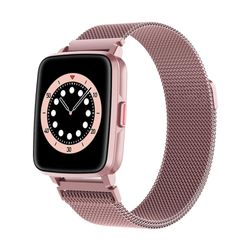 Bluetooth Smart Watch Temperature Monitor Heart Rate Blood Pressure - Metal Pink