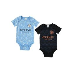 Manchester City FC Baby Home And Away Bodysuit (Pack of 2) (Sky Blue/Black) (0-3 Months)