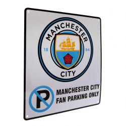Manchester City FC Official No Parking Sign (White/Sky Blue) (One Size)