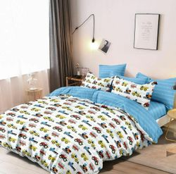 Cars trucks Single/King Single/Double/Queen Quilt Cover Set, construction