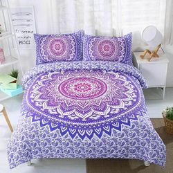 Mandala purple, pink Quilt Cover Set, India,oriental (King)