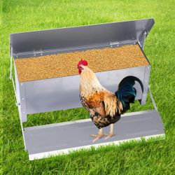 Traderight Automatic Chicken Feeder Self Opening PoultryTreadle Outdoor 10KG