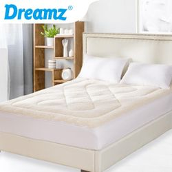 DreamZ Mattress Topper Protector 100% Cotton Wool Underlay Mat Reversible Use