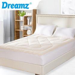 DreamZ Mattress Topper Protector 100% Cotton Wool Underlay Mat Reversible Queen