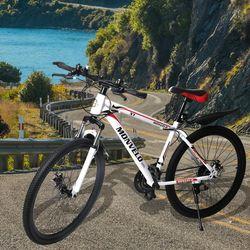 21 White Speed Bicycle 27.5inch Mountain Bike Dual Disc Brake Adjustable Seat