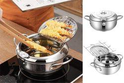 Japanese Tempura Iron Fryer Deep Frying Pan Pot Temperature Control