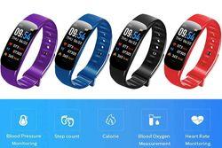 Blue: Smart Bracelet Multifunctional Bluetooth Bracelet Waterproof Smart Fitness Tracker Bands Health Monitoring Bracelet