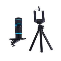 2Pcs Telephoto Phone Single-tube Telescope General Purpose 18 x Zoom External Camera Black Blue