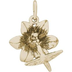 (10K Yellow Gold) - Rembrandt Charms, Hummingbird on a Hibiscus Flower