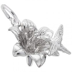 (.925 Sterling) - Rembrandt Charms, Hummingbird on a Hibiscus Flower