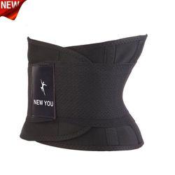 (Large, Black) - Waist Trainer Women Men Neoprene Sauna Sweat Trimmer Workout Belly Corset Slim Sport Body Shaper Back Support Sports Girdle Belt Weight Loss