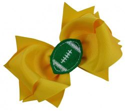 (Yellow Gold Bow with Green Ball) - Girls Football Hair Bow 11cm Embroidered Football Team Hair Bow (Yellow Gold Bow with Green Ball)