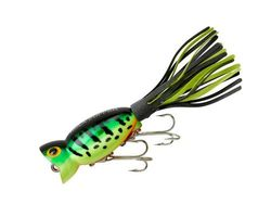 (5.1cm - 5-cm, Fire Tiger - Black/Chartreuse Skirt) - Arbogast Hula Popper Topwater Fishing Lure