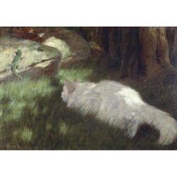 """(255gsm Satin art paper, Image size: 315mm x 450mm (12.4"""" x 17.7"""")) - White Cat Watching a Lizard, Arthur Heyer"""