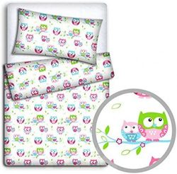 (Owls white) - Baby Bedding Set Pillowcase + Duvet Cover 2PC to FIT Baby COT Bed (Owls White)