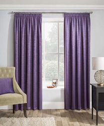 """(170cm x 180cm ) - Grape Purple Textured Thermal Blockout Pencil Pleat Tape Top Curtains 66 """" x 72 """" ( 168 cm Wide x 183 cm Drop )"""