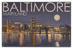 (10 x 15 Wood Sign) - Baltimore, Maryland - Skyline at Night (10x15 Wood Wall Sign, Wall Decor Ready to Hang)