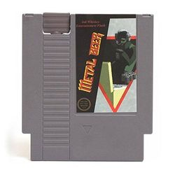 (Metal Beer - Metal Gear) - Concealable NES Entertainment Flask – Looks like a Retro Nintendo Video Game Cartridge – buts it's a flask with a Hilarious Label