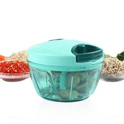 (Blue) - Valuetools Mini Manual Food Processor Chopper, Hand Pull String Vegetable Slicer Onions Cutter, Durable BPA Free Food Safe Material (2 Cup)