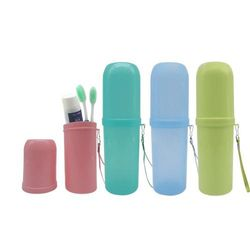 Travel Toothbrush Toothpaste Holder Anti Bacterial Storage Box Dual Use Tooth Mug 4 Pack