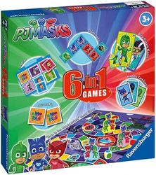 Ravensburger PJ Masks - 6 in 1 Game Set for Kids & Families Age . and Up - Includes 6 classic games: bingo, memory, dominoes, snakes & ladders, checkers & playing cards