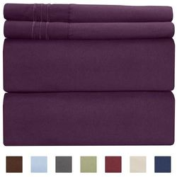 (Queen, Purple) - Queen Size Sheet Set - 4 Piece Set - Hotel Luxury Bed Sheets - Extra Soft - Deep Pockets - Easy Fit - Breathable & Cooling - Wrinkle Free - Comfy – Purple Plum Bed Sheets - Queens Sheets – 4 PC