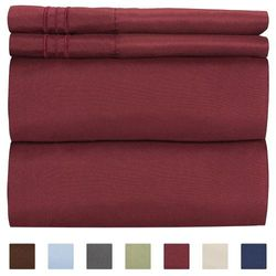 (Full, Burgundy) - Full Size Sheet Set - 4 Piece Set - Hotel Luxury Bed Sheets - Extra Soft - Deep Pockets - Easy Fit - Breathable & Cooling - Wrinkle Free - Comfy – Burgundy Bed Sheets - Fulls Sheets – 4 PC