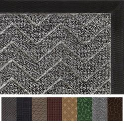 (90cm x 60cm , Charcoal: Chevron) - Gorilla Grip The Original Durable All-Natural Rubber Door Mat, Indoor Outdoor, 2 Sizes and 8 Colours, Large 90cm x 60cm , Waterproof, Low-Profile, Easy-To-Clean (Charcoal: Chevron)