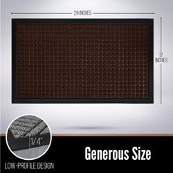 (70cm x 43cm , Chocolate: Squares) - Gorilla Grip The Original Durable All-Natural Rubber Door Mat, Indoor Outdoor, 2 Sizes and 8 Colours, Large 70cm x 43cm , Waterproof, Low-Profile, Easy-To-Clean (Chocolate: Squares)