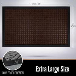(90cm x 60cm , Chocolate: Squares) - Gorilla Grip The Original Durable All-Natural Rubber Door Mat, Indoor Outdoor, 2 Sizes and 8 Colours, Large 90cm x 60cm , Waterproof, Low-Profile, Easy-To-Clean (Chocolate: Squares)