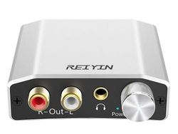 Reiyin DA-01 Digital to Analogue Converter DAC Digital Optical Coaxial Toslink to Analogue Stereo L/R RCA 3.5mm Audio Adapter with Volume Control for PS3 PS4 Xbox DVD AV Amps Cinema Systems Apple TV
