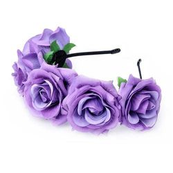 (Lavender) - DreamLily Rose Flower Crown Wedding Festival Headband Hair Garland Wedding Headpiece