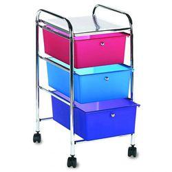 (3 Drawers, Multi-colored) - Vertiflex 3-Drawer Rolling File Organiser Cart, 27 x 39cm x 33cm , Multi-Coloured (34081)