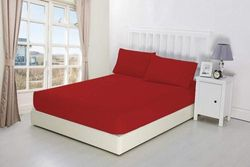 """(Twin, Red) - NIYS Luxury Bedding Finest 100% Egyptian Cotton 9""""/23CM Fitted Sheets (Single, Red)"""